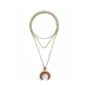 Snow White Crystal & Tan Crescent Moon  Necklace